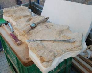 Porzione dell'intonaco di San Cristoforo distaccata dalla parete